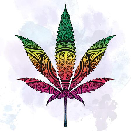 Adornado marihuana en abstracto. La ilustración se puede utilizar en los tatuajes, carteles, impresión de camisetas y otras cosas. Ilustración de vector