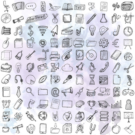 sketch: Set of computer, business and school icons. Hand drawn collection.