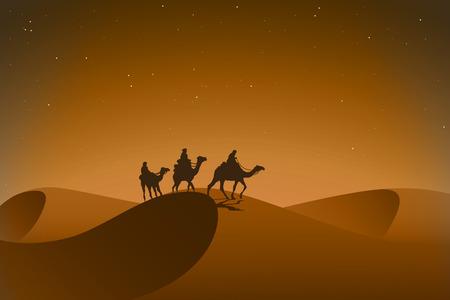 Arabska karawana w nocy pustyni. Ilustracji wektorowych.