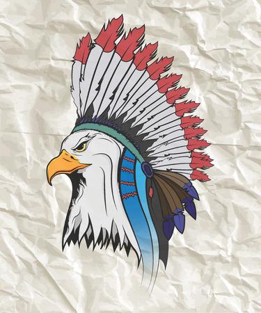 Eagle in un cappello cittadino indiano. Vettore isolato illustrazione.