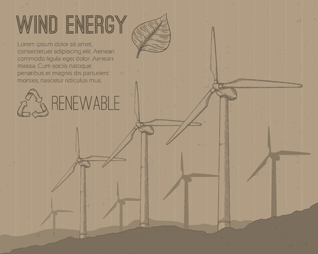 power supply unit: Wind power plant. Hand drawn vector illustration.