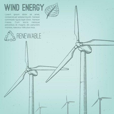 converter: Wind power plant. Hand drawn vector illustration.