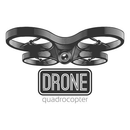 cartel de aviones no tripulados. Ilustración del vector de quadrocopter. Puede ser utilizado en logo, grabados y carteles.