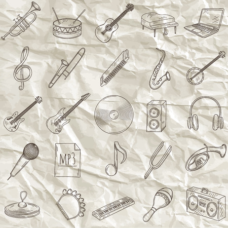 castanets: Set of musical instruments icons. Hand drawn vector illustration.