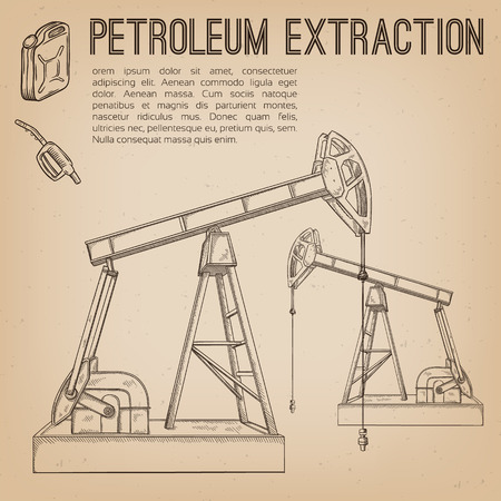petroleum: Petroleum extraction pump. Hand drawn vector illustration. Illustration