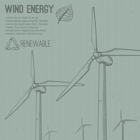wind power: Wind power plant. Hand drawn vector illustration.