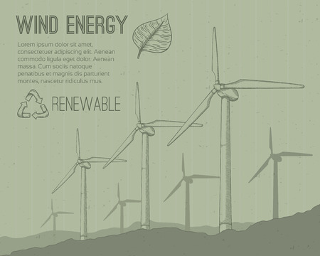 clean energy: Wind power plant. Hand drawn vector illustration.