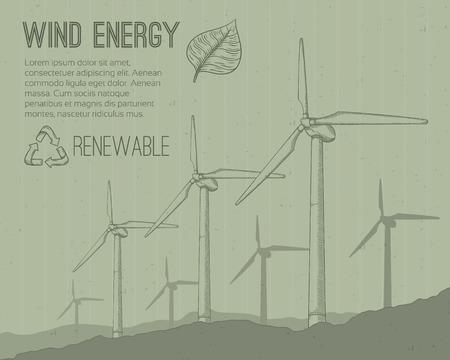 Wind power plant. Hand getrokken vector illustratie.