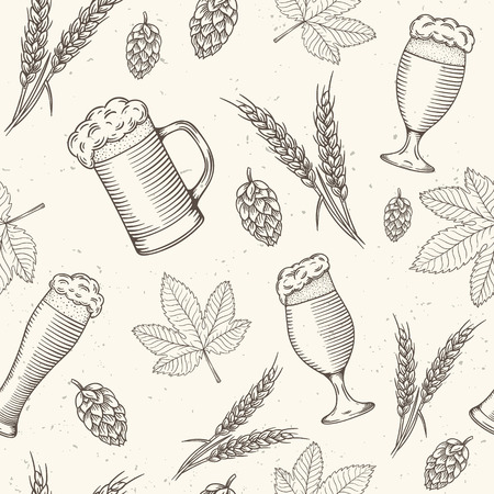 irish pub beer objects hand drawn seamless pattern vector illustration