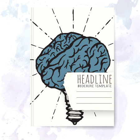 note book: Notebook template with hand drawn brain concept. Vector editable notebook cover.