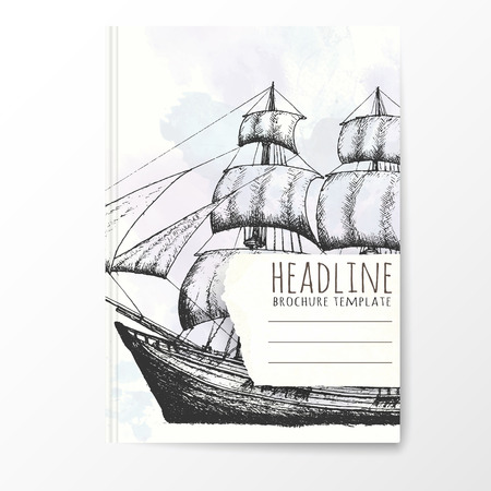 notebook cover: Notebook template with hand drawn ship. Vector editable notebook cover. Illustration