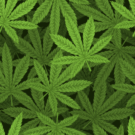 Marijuana leafs seamless pattern. Hand drawn vector illustration.