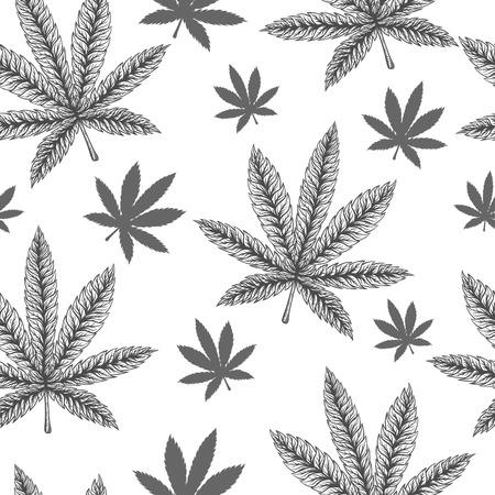 Marijuana leafs seamless pattern. Hand drawn vector illustration. Illustration