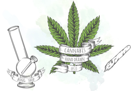 bong: Marijuana stuff collection. Hand drawn isolated illustrations on watercolor background.