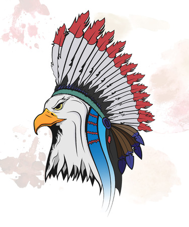 Eagle in a national Indian hat icon concept. Vector isolated illustration. Illustration
