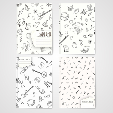 notebook cover: Notebook template with hand drawn music pattern. Vector editable notebook cover.