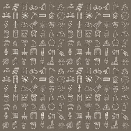 Set of industrial and ecology icons. Hand drawn vector illustration.
