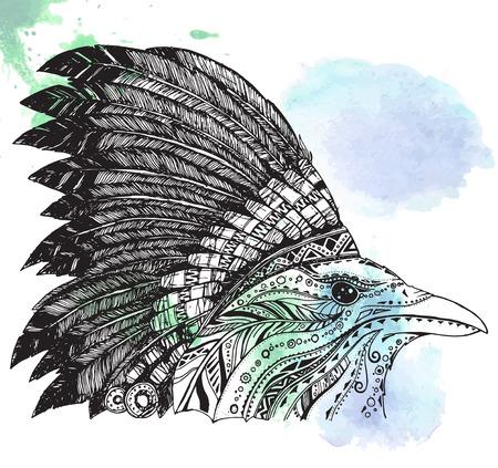 indian headdress: Hand Drawn Native American Indian Headdress. Crown in Indian chief feather hat.