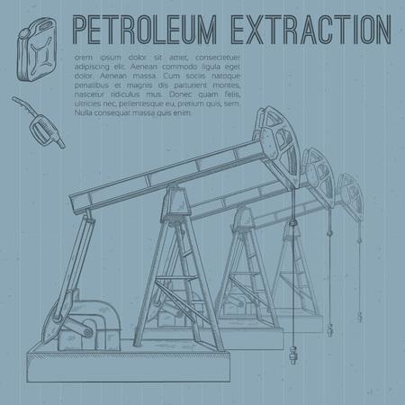 extraction: Petroleum extraction pump. Hand drawn vector illustration. Illustration