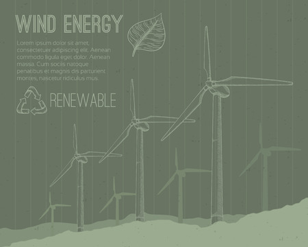 converter: Wind power plant. Hand drawn vector illustration.