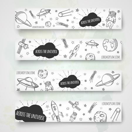 platen: Hand drawn banner template. Space doodles vector illustration. Illustration