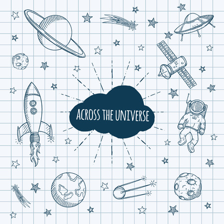 astronomy: Hand drawn set of astronomy doodles. Hand drawn vector illustration.