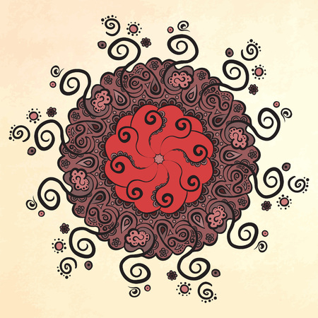 used ornament: Mandala. Circle ornament. Illustration can be used in tattoos, posters, printing on T-shirts and other things. Illustration