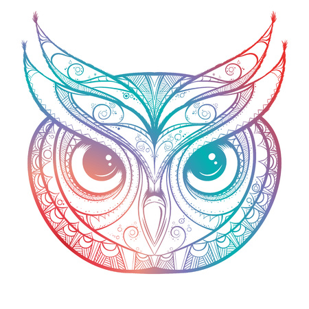 Owl with tribal ornament. Hand drawn vector illustration. Illustration