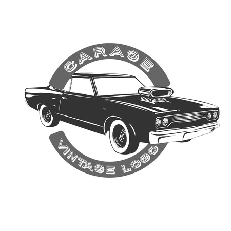 Vector Black Muscle Car Icon On White Background Royalty Free