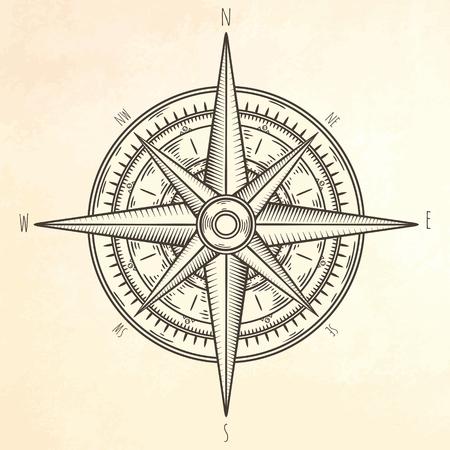 Wind rose hand drawn illustration.  Marine objects collection.  イラスト・ベクター素材