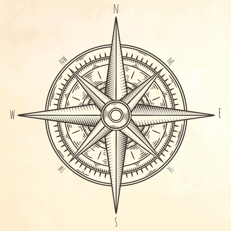 Wind rose hand drawn illustration.  Marine objects collection. Illustration