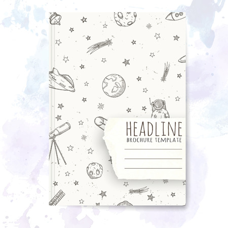 notebook cover: Notebook template with hand drawn astronomy doodles. Vector editable notebook cover.