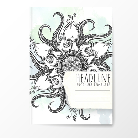 notebook cover: Notebook template with hand drawn octopus mandala. Vector editable notebook cover.