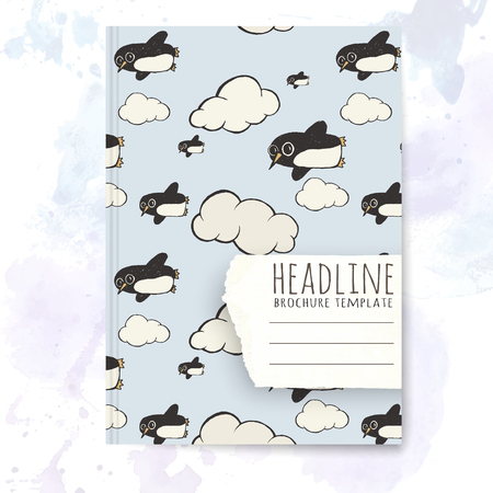 notebook cover: Notebook template with hand drawn penguin doodles. Vector editable notebook cover.