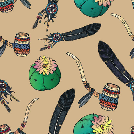 pipe dream: Indian native seamless pattern. Hand drawn elements. Illustration
