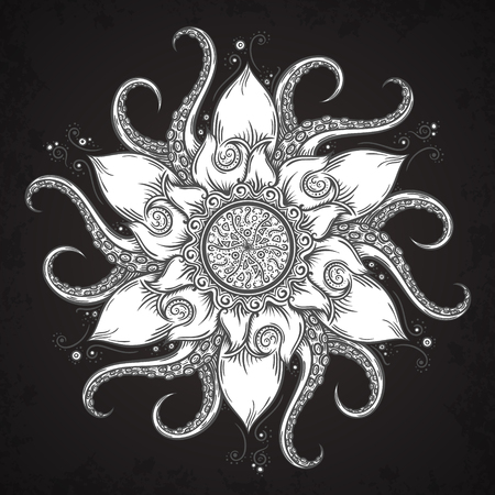 tentacles: Nautical mandala with octopus tentacles and floral elements. Hand drawn vector illustration.