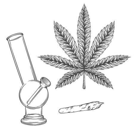 Marijuana stuff collection. Hand drawn isolated illustrations on watercolor background. Stock Vector - 56552541