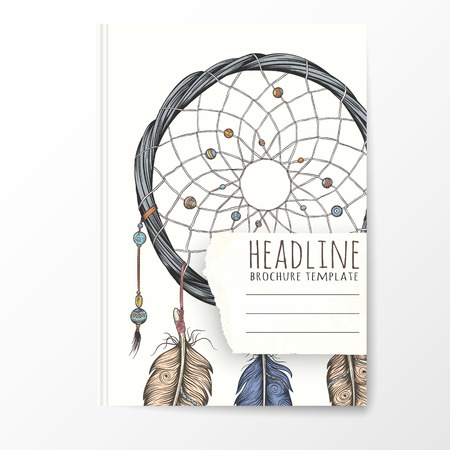 notebook cover: Notebook template with hand drawn dream catcher. Vector editable notebook cover. Illustration