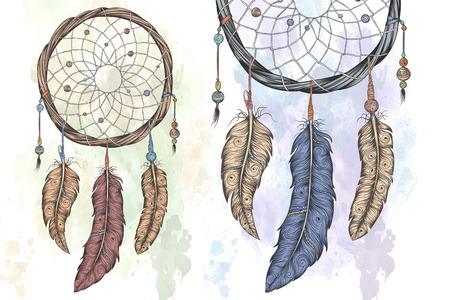 Dream Catcher Ręcznie rysowane ilustracji wektorowych z abstrakcyjnymi mandali.