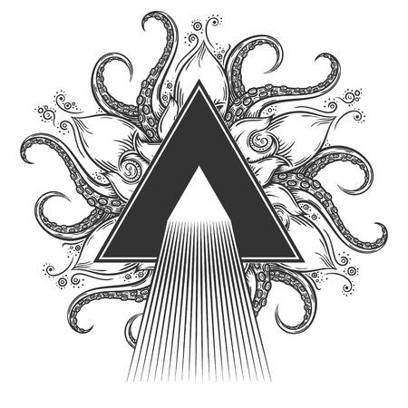 dispersion: Dispersion abstract illustration on hand drawn nautical mandala.