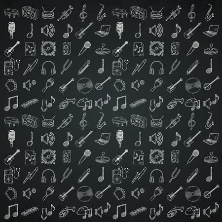 castanets: Hand drawn musical instruments icons set. Vector illustration. Illustration