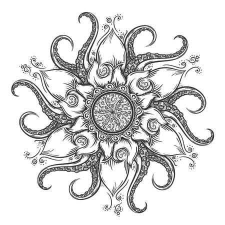 タコの触手と花要素航海マンダラ。手には、ベクター グラフィックが描画されます。  イラスト・ベクター素材