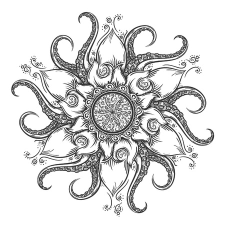 Nautical mandala with octopus tentacles and floral elements. Hand drawn vector illustration.