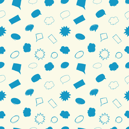 dialog baloon: Hand drawn seamless pattern with message bubbles. Illustration