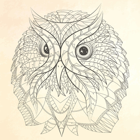 wise owl: Owl in ethnic design. Illustration can be used in tattoos, posters, printing on T-shirts and other things. Illustration