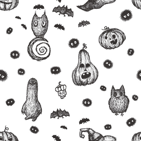 creepy hand: Halloween seamless pattern with creepy creatures. Hand drawn vector.