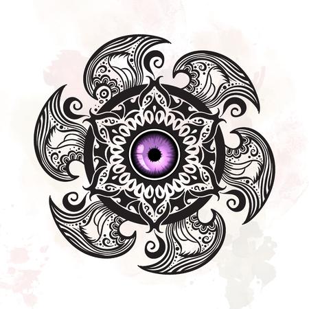mystic: Hand drawn abstract mystic mandala. Vector isolated illustration.