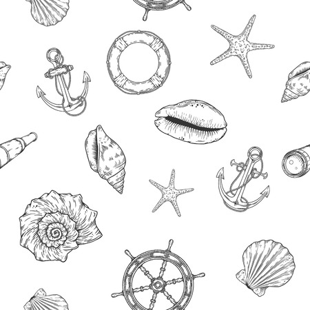 Hand drawn nautical seamless pattern. Vector illustration eps10.