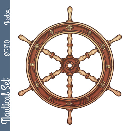 Hand drawn ship stearing wheel. Vector marine objects.