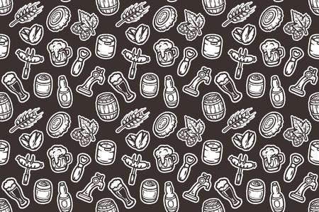 Hand getekend naadloos patroon met bier spullen.